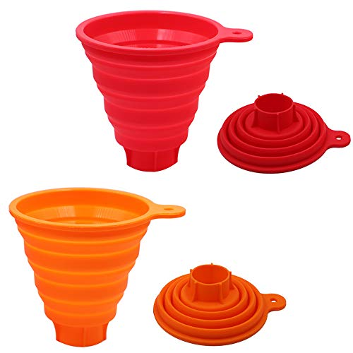 Silicone Collapsible Funnel for Jars, 2 Pack Large Kitchen Funnels for Wide Mouth Regular Bottles, Food Grade Hopper for Canning of Liquid Powder Solid Bean Jam Spice - Use for Cooking Baking