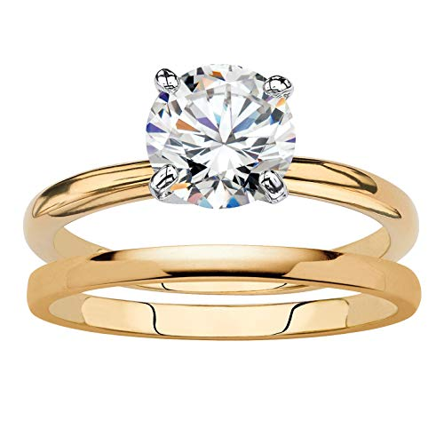 Palm Beach Jewelry 18K Yellow Gold-Plated Round Cubic Zirconia Solitaire 2-Piece Wedding Ring Set Size 7
