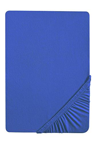 #9 biberna Jersey-Stretch Spannbettlaken, Spannbetttuch, Bettlaken, 90x190 – 100x200 cm, Saphir