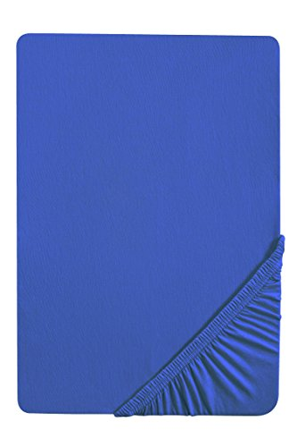 biberna 0077144 Feinjersey Spannbetttuch (Matratzenhöhe max. 22 cm) (Baumwolle) 90x190 cm -> 100x200 cm, saphir