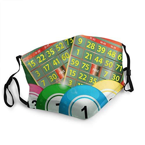 Neue Bingo-Karten und Bingo-Bälle auf grünem verstellbarem Mundschutz, waschbare Gesichtsmaske, Kopftuch, Sturmhaube, wiederverwendbarer Halstuch.