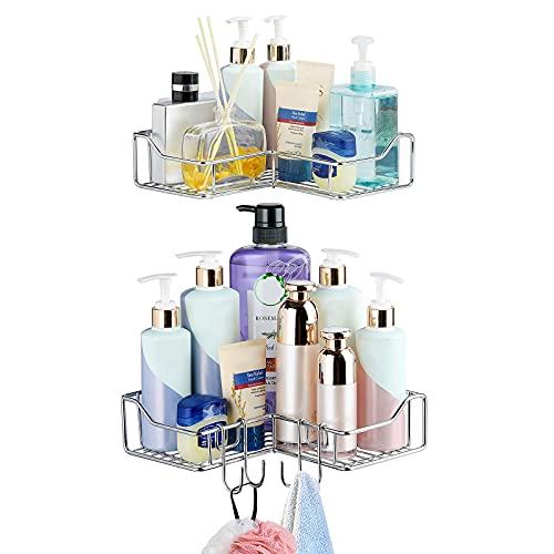 2 Pack Corner Shower Caddy Shelf , Adjustable Shampoo Holder Storage Organizer For Bathroom,Kitchen No Drilling Adhesive SUS 304 Steel Corner Adhesive Basket With 2 Extra Hooks