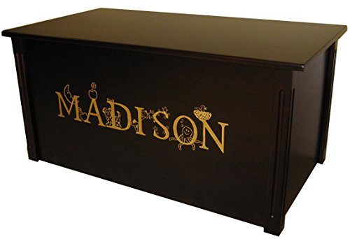 Wood Toy Box, Large Espresso Toy Chest, Personalized Thematic Font, Custom Options (Standard Base - Gold Lettering)