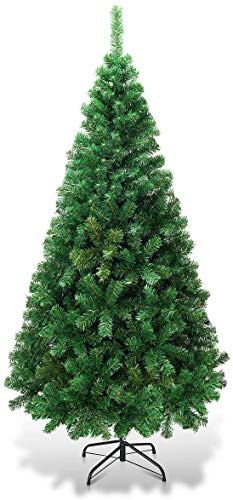 Goplus 8ft Artificial Christmas Tree Xmas Pine Tree with Solid Metal Legs Perfect for Indoor and...