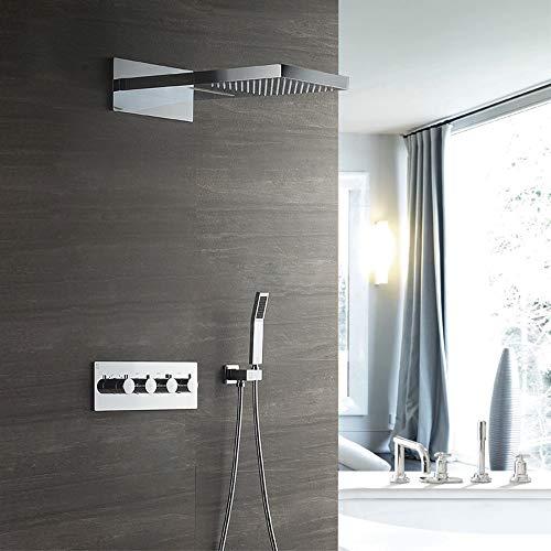 Stella Fella Cabezal de ducha en la pared de ducha oculta de cobre lleno en caja de válvula cuerpo de tres funciones termostático grifo de ducha conjunto de ducha