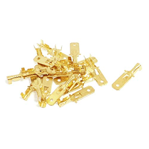 New Lon0167 20 Pcs Featured 1/4' Stud Brass Reliable Efficacy Male Cable Connector Non-Insulated Ring Terminal(id:CAE 32 10 7ec)
