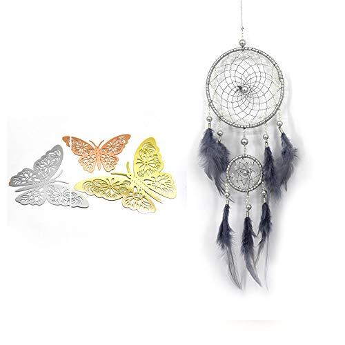 KYUEE 36 piezas de mariposas huecas 3D decoración de la pared de la mariposa pegatina de la decoración del hogar (azul)