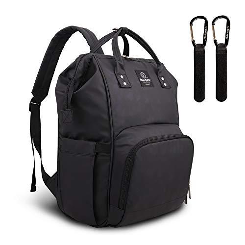 Pipi Bear Changing Backpack Bag Waterproof Baby Changing Bag Cool Nappy Backpack Organizer Large Capacity Diaper Tote Bag (Black)