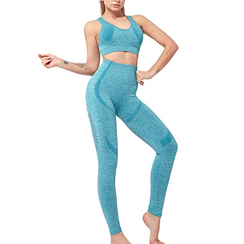 Vertvie Damen Sportanzug Mode 2 Stück Set Outfits Sport BH mit Bodycon Paket Hüfte Hosen Beiläufig Outfit Sport Fitness Anzug Jogginganzug Workout Bekleidungssets