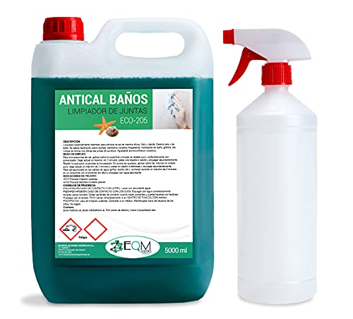 Ecosoluciones Químicas ECO-205 | 5 litros | Antical-Desincrustante-Limpiador de juntas cuarto baño. Limpiador Profesional Muy Potente