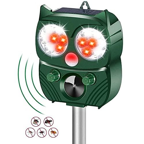 Eyeleaf Repellente Gatti Ultrasuoni Dissuasore per Uccelli Repeller Ultrasuoni Energia Solare IP66 Impermeabile Frequenza Regolabile, Deterrente per Piccioni, Topi, Cani, Volpe, Serpenti