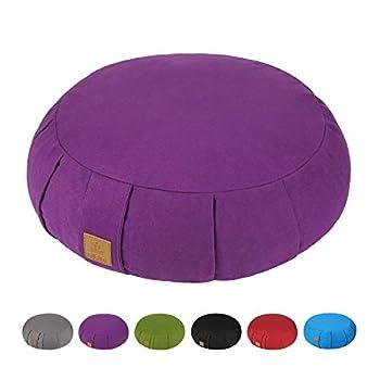 FelizMax Round Zafu Meditation Cushion Zabuton Meditation Pillow Yoga Bolster/Pillow Floor seat Zippered Organic Cotton Cover Natural Buckwheat Kneeling Pillow - Purple and Large Size