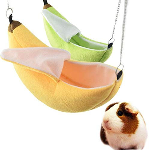Timesuper Hamster Hanging House Hammock Banana Swing Nest Small Animals Cotton Cage Sleeping Nest with Chain,yellow