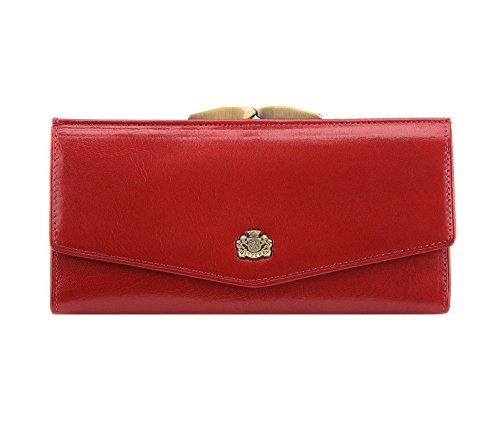 WITTCHEN Geldbörse aus Rindsleder | Kollektion: Arizona | mit Druckknopfverschluss | aus hochwertigen Materialien | elegant und klassisch | Rot | 18x9 cm