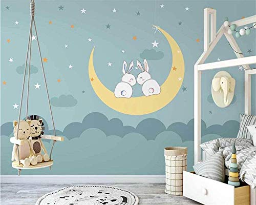 Customize Wall Papers Home Decor New Nordic Hand-Painted Moon Ship Clouds Children Room Background Wallpaper Speedcoming x1128-200x140cm/79'x 55'