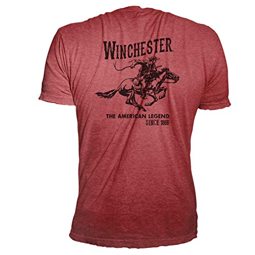 Winchester Official Men's Vintage Rider Graphic Printed Short Sleeve T-Shirt (Medium, Heather Red)