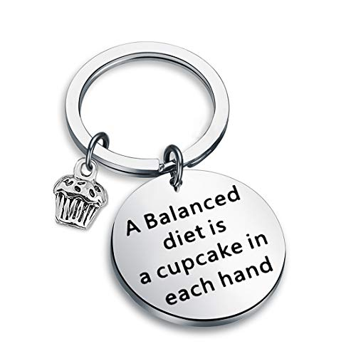Zuo Bao Bodybuilding Jewelry Funny Fitness Gift Weight Loss Motivation A Balanced Diet is A Cupcake in Each Hand Keychain Gym Jewelry Gift for Men Women (A Balanced Diet Keychain)