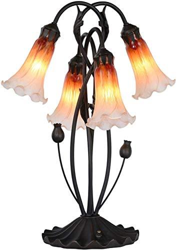 Bieye L30699 - Lámpara de mesa de cristal soplado estilo Tiffany con pantalla de cristal de 10,16 cm de ancho para mesita de noche, sala de estar, dormitorio, 4 luces, color naranja