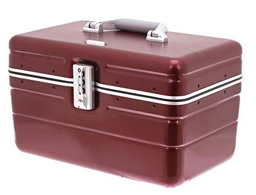 Beauty Case Hartschale Kosmetikkoffer Make Up Case Box mit TSA- Schloss Rot Dunkelrot matt