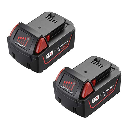 2 Packs 4.0 Ah M-18 Battery Compatible with Milwaukee 18V Battery for 48-11-1820 48-11-185048-11-1828 48-11-10 m18 Cordless Power Tools