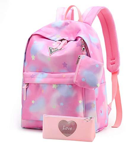 Suerico School Backpack for Girls,Lightweight Durable School Bags Waterproof Bookbag for Students (Pink)
