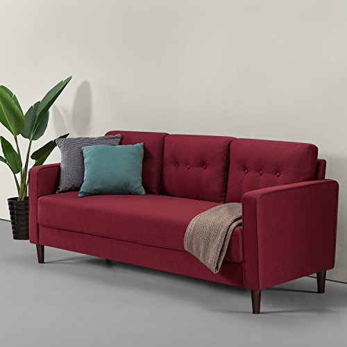 ZINUS Mikhail Sofa Couch, Mediados de siglo, Montaje fácil sin herramientas, Cojines con mechón insertado y botones, Patas cónicas, Sofá en una caja, Rojo rubí