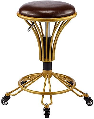 Taburete de belleza El taburete de la barra de moda retro europea se puede rotar la silla de elevación de la silla de salón de la silla de salón de cosméticos multifuncionales Taburete de oficina (Col
