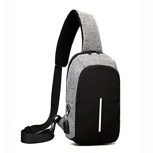 YQDHHD Crossbody Chest bag Small Size Mens Shoulder Bag Lightweight Sling Casual Daypack with USB Charging Port for Travel Bike Gym Hiking Gray