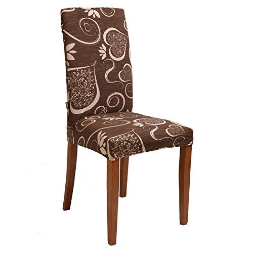 Bed Store - Joker Coprisedia vesti sedia millerighe elasticizzato 2 pezzi linea Cuori (MARRONE/MORO)