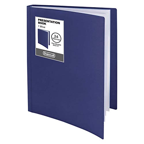 """Dunwell Binder with Plastic Sleeves (Blue, 1 Pack), 24-Pocket Bound Presentation Book with Clear Sleeves, Displays 48 Pages of 8.5x11"""" Inserts, Sheet Protector Binder, Portfolio Folder"""