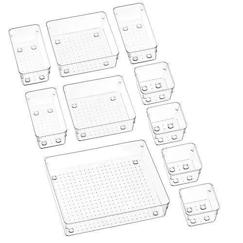 Puricon (10Stück) Plastik Schubladen Ordnungssystem Aufbewahrungsbox Stoffkasten Schubladeneinsatz Schubladen Tisch Büro Bade Make-up Organizer, Drawer Divider Cubes Container -Klar