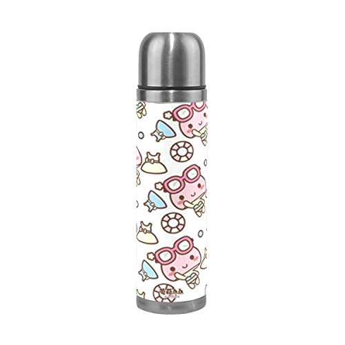 Vacuum Cup Insulated Stainless Steel Cartoon Girl Glasses Skirt Water Bottle Sports Coffee Travel Mug Thermos Cup Genuine Leather Cover Double Walled capacity 17 Oz
