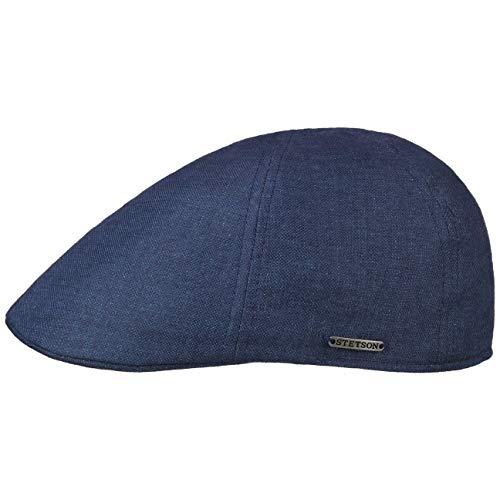 Stetson Texas Linen Flatcap Schirmmütze Leinencap Sommercap Schiebermütze Herren - Made in The EU mit Schirm, Futter Frühling-Sommer - XL (60-61 cm) blau