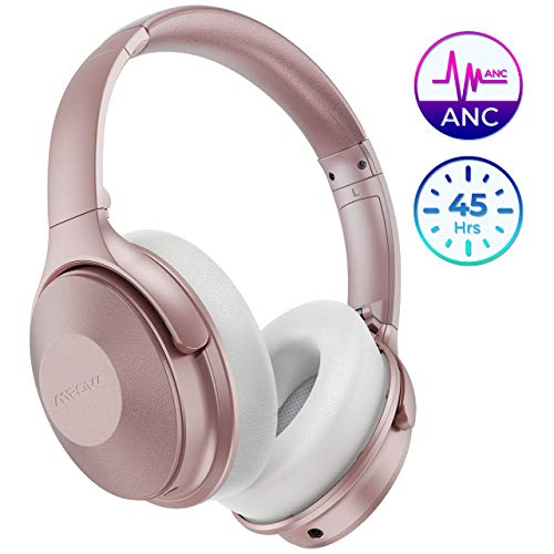 Mpow H17 Auriculares con Cancelación de Ruido, 45 Hrs de Juego, Cascos Bluetooth Diadema con Carga Rápida, Sonido Hi-Fi, Auriculares Diadema Bluetooth con Micrófono para TV/Móvil/PC-Rosa