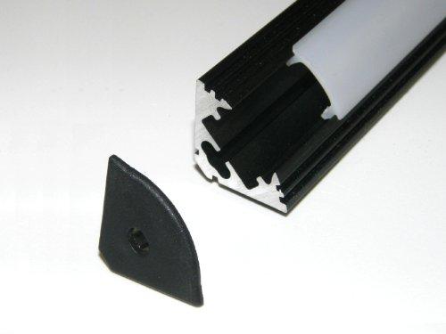 Aluminiumprofil für LED-Streifen, LED-Bänder, P3, eloxiertes SCHWARZES Oberflächenfinish, OPAL-Abdeckung, Set mit zwei Endkappen, 1m / 100 cm / 1000 mm