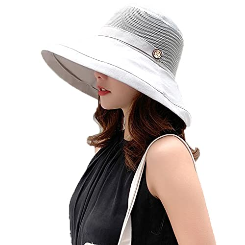 Women's Mesh Sun Hats Wide Brim Summer Beach Bucket Caps for Girls Outdoor UV Protection UPF Foldable Fishing Hat Light Grey