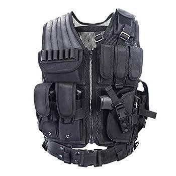 YAKEDA Tactical Vest Outdoor Ultra-Light Breathable Combat Training Vest Adjustable for Adults 600D Encryption Polyester-VT-1063  Black