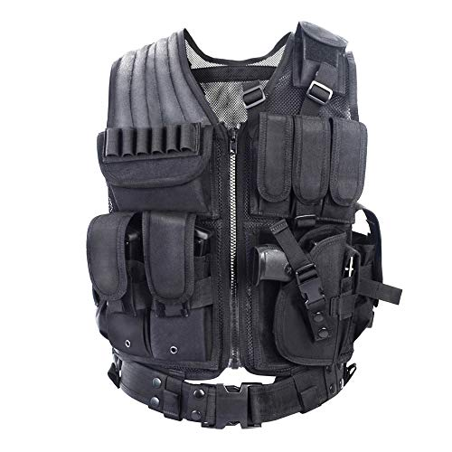 YAKEDA Tactical Vest Outdoor Ultra-Light Breathable Combat Training Vest Adjustable for Adults 600D Encryption Polyester-VT-1063 (Black)