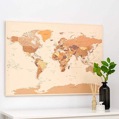 Cartina Geografica Mondo Quadro.Planisfero Da Parete Mappa Del Mondo Quadro Su Tela Incorniciato Con 100 Puntine Incluse Cartina Geografica Mondo In Marrone 100x70 120x80 150x100 Cm Dimensioni Amazon It Handmade