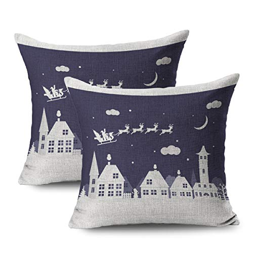 FUEWU Set of 2 Linen Throw Pillow Cover Square 18x18 Inches Celebrate Merry Christmas Happy New Year Small Architecture Holidays Celebration Chapel Tree City Pillowcase Home Decor Cushion Pillow Case