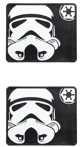 Storm Trooper with Galactic Empire Logo Star Wars Car Truck SUV Rear Seat Utility Rubber Floor Mats - Pair