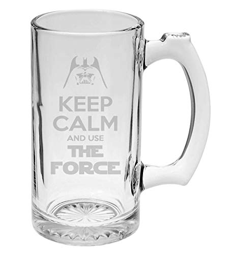 Keep Calm and Use The Force Darth Vader Star Wars Inspired 16 oz Hand-made Etched Beer Mug Glass Stein …