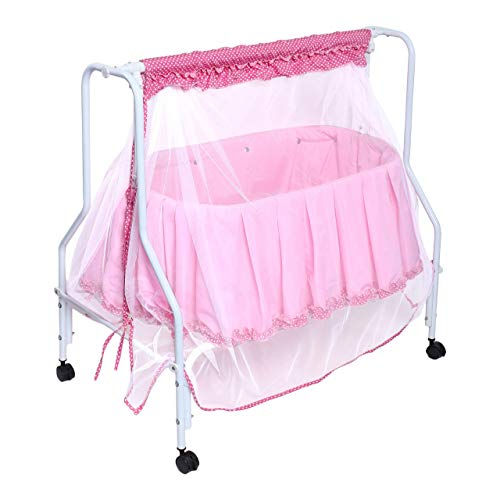 Kiddery Lyra | Baby Cradle | Baby Swing | Jhula | Palna with Mosquito Protection Net | Washable Super Soft Cloth | Sturdy Metal Frame | All Wheel Lock | 0 to 8 Months | Pink