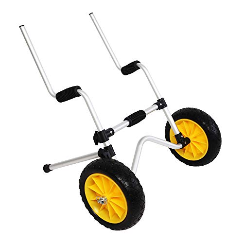 Bonnlo Scupper Kayak Cart Carrier Trolley with NO-Flat Airless Tires Wheels Transport for Sit-On-Top Kayaks