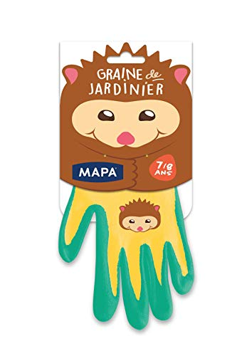 Mapa - Guantes de jardinería de tela con revestimiento de nitrilo para niños, protección y comodidad, talla 7-8 años 1 unidad