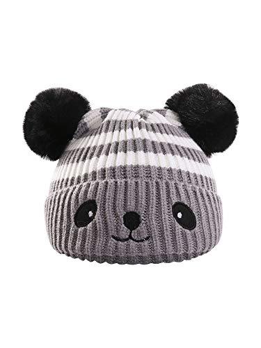 Carolilly Unisex Baby Strickmütze Cartoon Panda Beanie Mütze für Mädchen Jungen Kleinkind Mütze mit Pom Pom Hut Winter (Grau, Einheitsgröße)