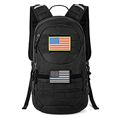 Gelindo Tactical Hydration Backpack, Military Lightweight Backpacks MOLLE Pack 900D with 2L Hydration Bladder, Small Tactical Assault Pack for Hiking Biking Running Climbing Outdoor Travel, Black