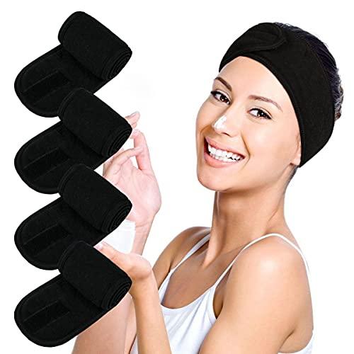 Facial Spa Headbands 4PCS, Makeup Shower Bath Wrap Sport Headband Terry Cloth Stretch Towel with Magic Tape (Black)