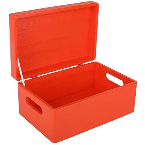 Creative Deco Roja Grande Caja de Madera para Juguetes   con Tapa y Asas   30 x 20 x 14 cm (+/-1cm) Cofre para Decorar   Almacenaje Documentos, Objetos de Valor, Herramientas