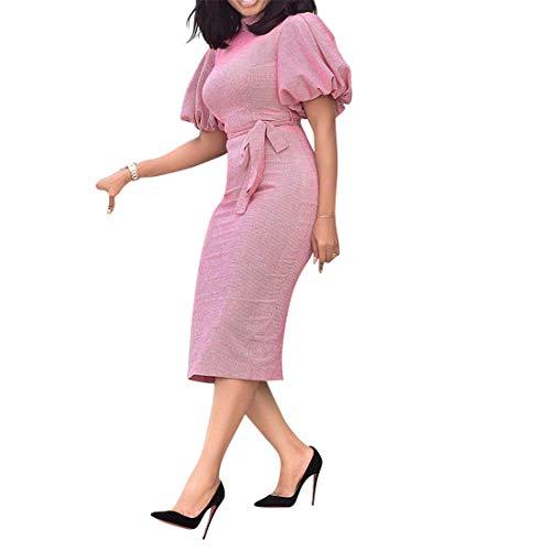 VERWIN Vestito da Donna con Colletto a Maniche Corte, a Met¨¤ Polpaccio, con Maniche a Lanterna